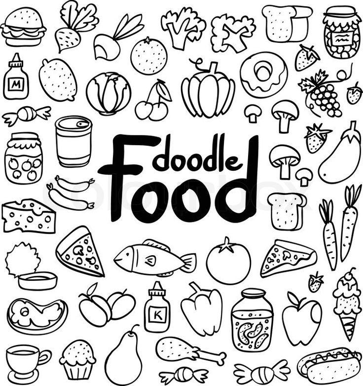 Drawn number doodle Set Best Easy food on
