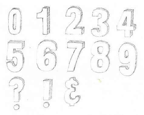 Drawn number drawing A hand 3D az draw