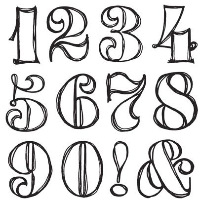 Drawn number fancy Swirly CLEARANCE on Sets numbers