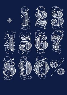 Drawn number fancy Sets Numbers Stamp CLEARANCE Lass