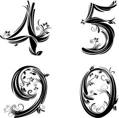 Drawn number fancy Table Template Vintage stencil/templates Letter
