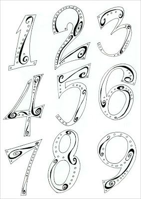 Drawn number fancy font Numbers blogspot Top Lettering fonts