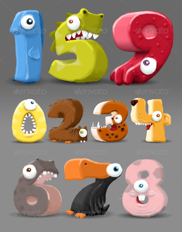 Drawn number fun Characters dxc GraphicRiver Hand Number