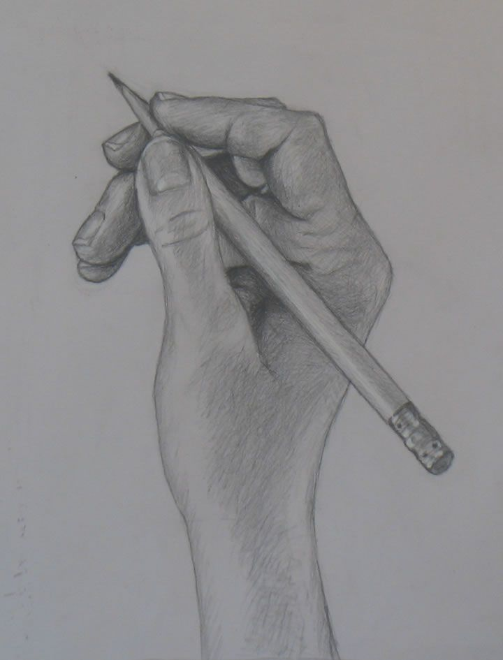 Drawn pen hand holding Drawings on Hand Drawing pencil