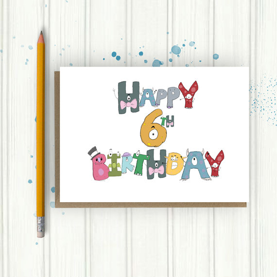 Drawn number monster Card Birthday Any Card card