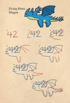 Drawn number monster Drawing follow to erasing using