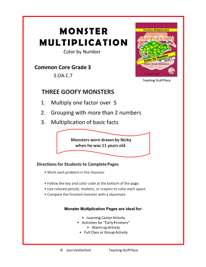 Drawn number monster 3 MULTIPLICATION Facts 3 MULTIPLICATION