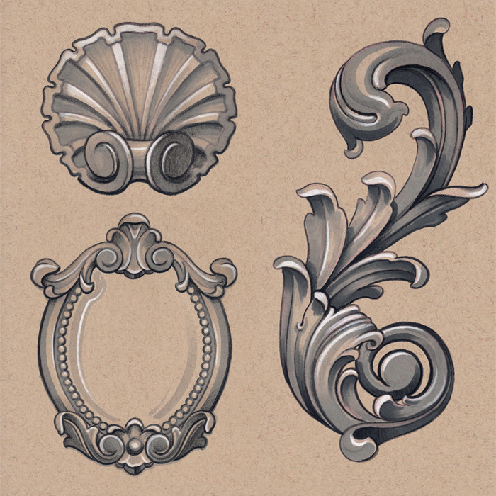 Drawn number ornamental Ornamental book of  Selection