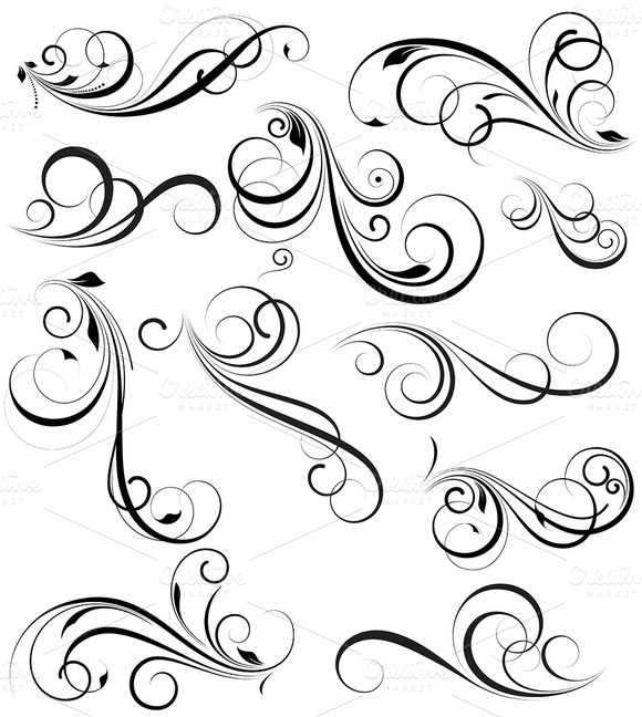 Drawn number swirly Out Elements by vectors vectors