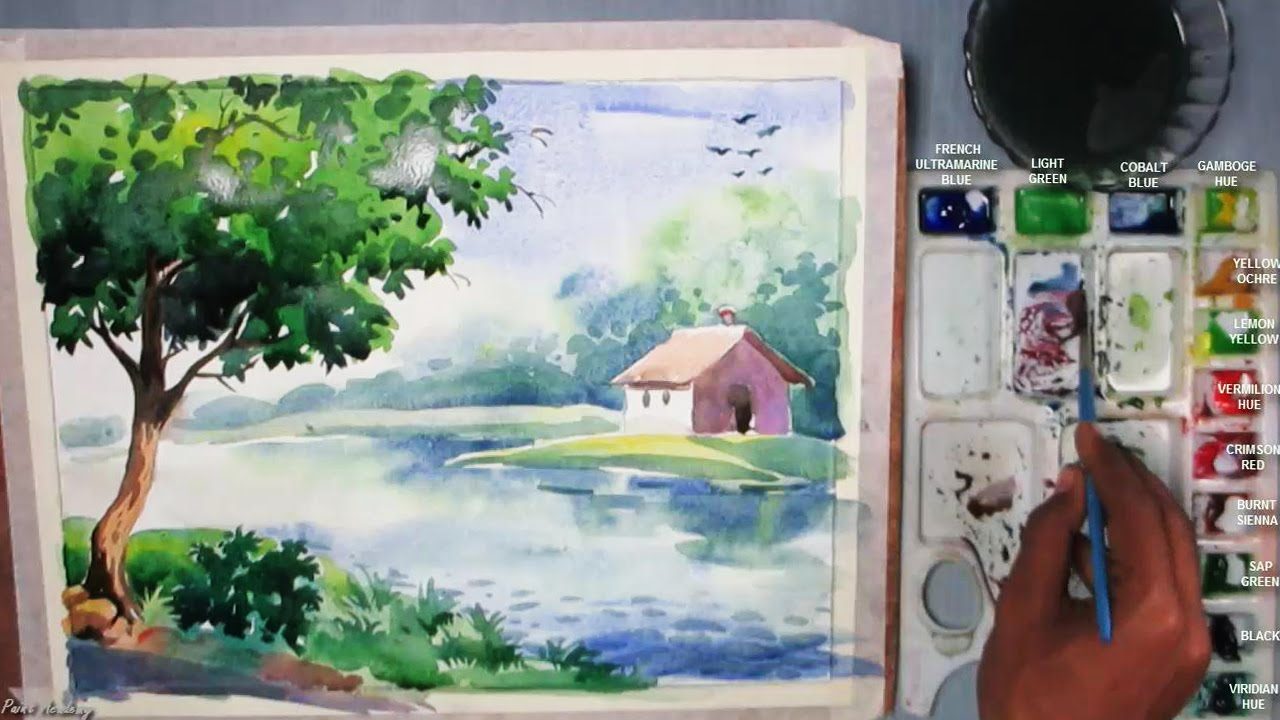 Drawn number watercolor A Episode Watercolor Landscape Watercolor