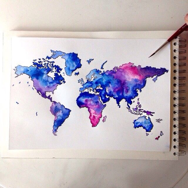 Drawn number watercolor Ideas Watercolor Best Pencils map