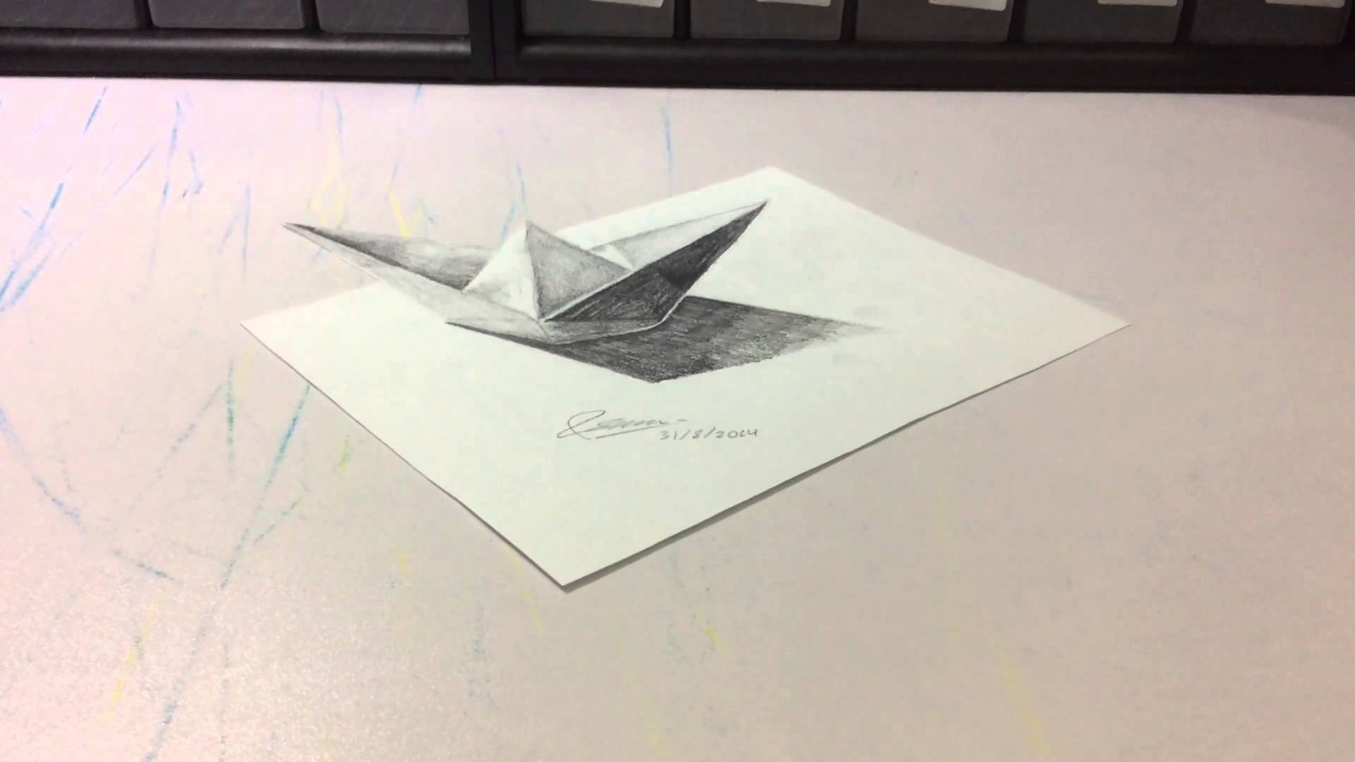 Drawn origami 3D boat drawing Unsubscribe origami