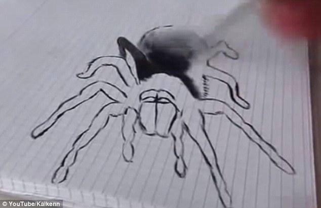 Drawn spider 3d art #1