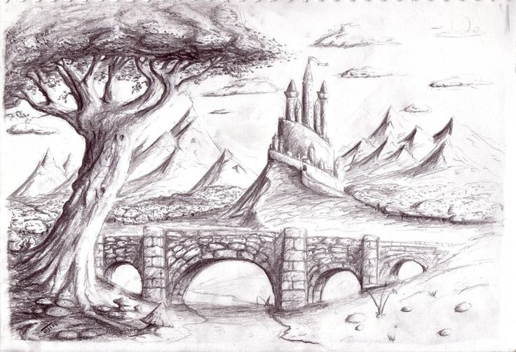 Drawn scenic pencil sketching Nature Pencil Drawings Nature For