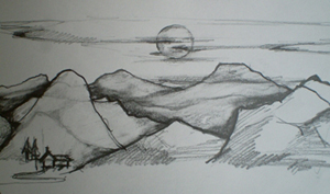 Drawn scenic landscape  Drawing : Draw How