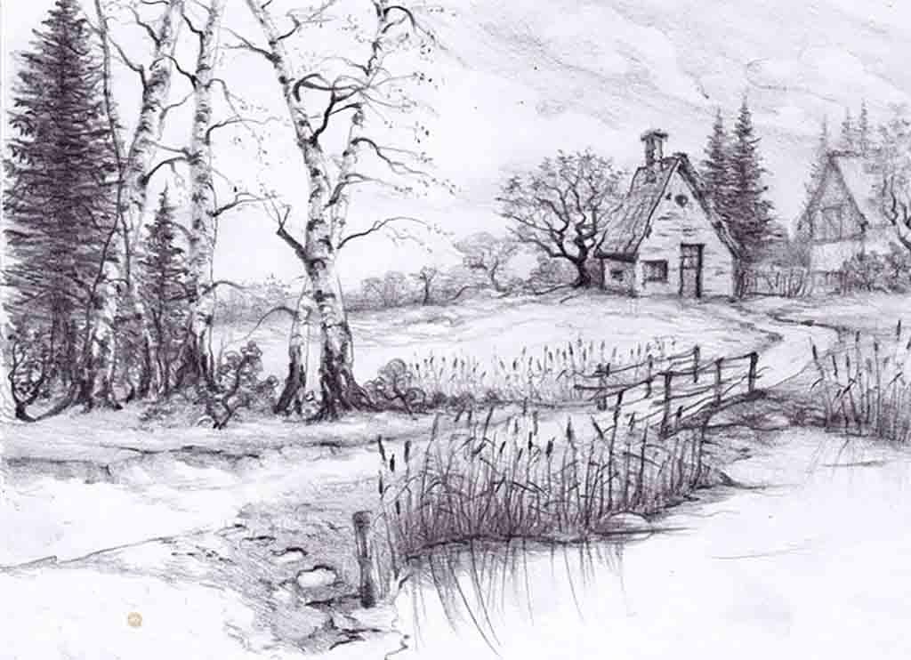 Drawn scenic amazing scenery Of Beautiful Best drawings: ideas