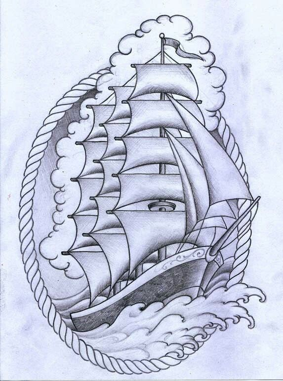 Drawn ship american traditional With Tattoo and Tattoos designs