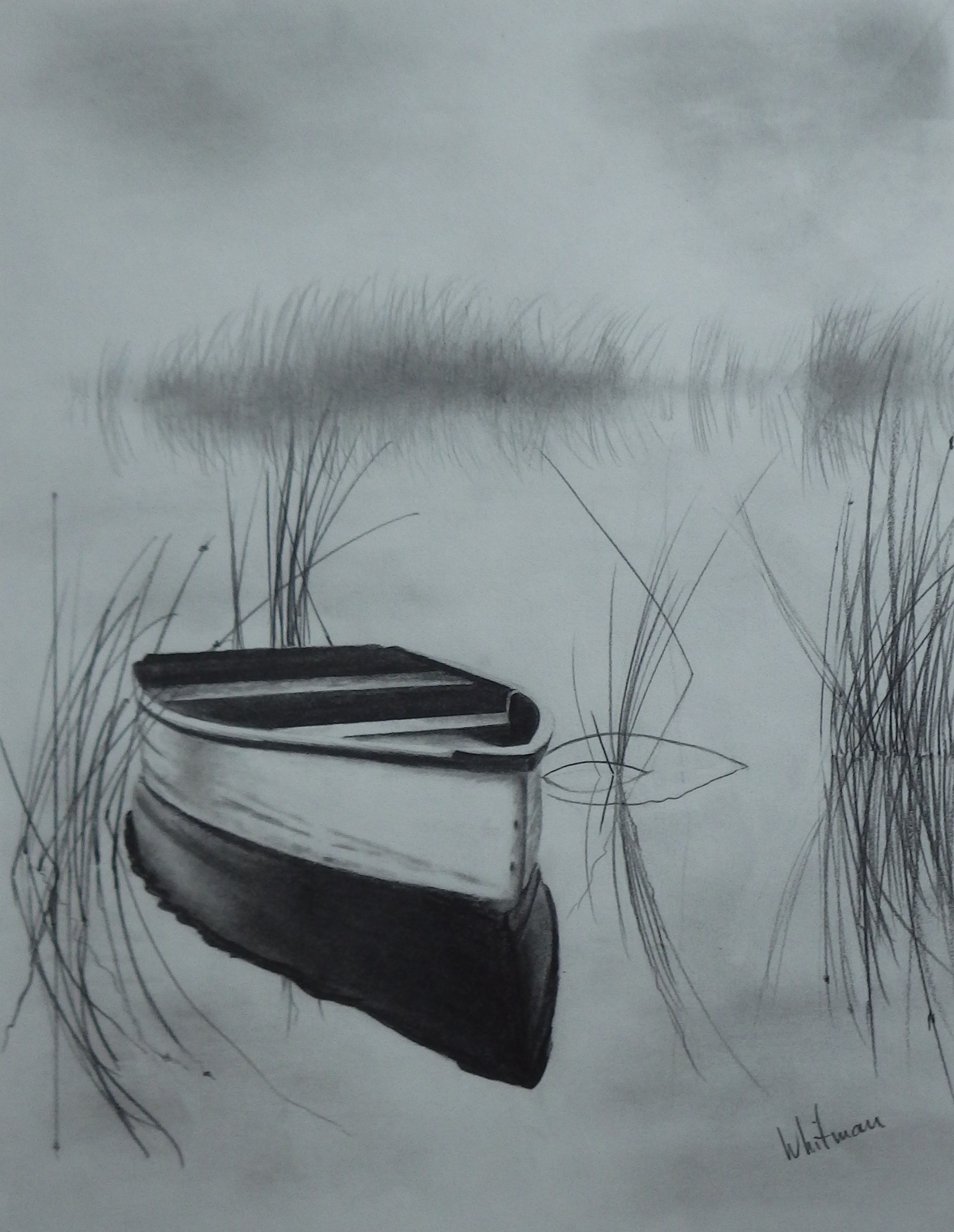 Drawn scenery boat Lake graphite pencil reflections the