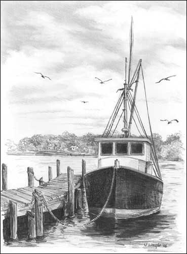 Drawn scenery boat On pencil drawing Pinterest ideas