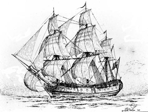 Drawn ship pirate shipwreck Post Log CY Portal 585