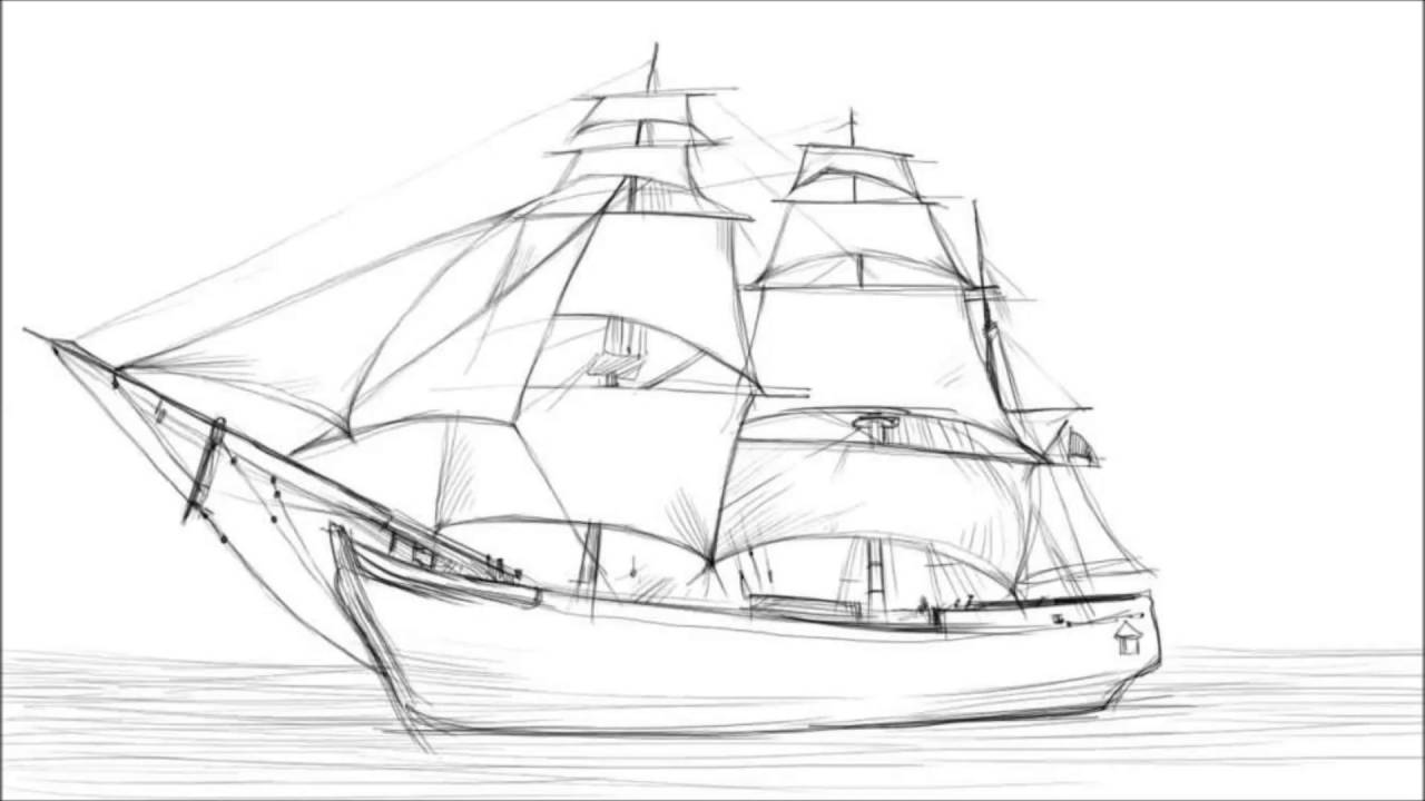 Drawn ship pencil drawing To Ship Sailing Ship YouTube