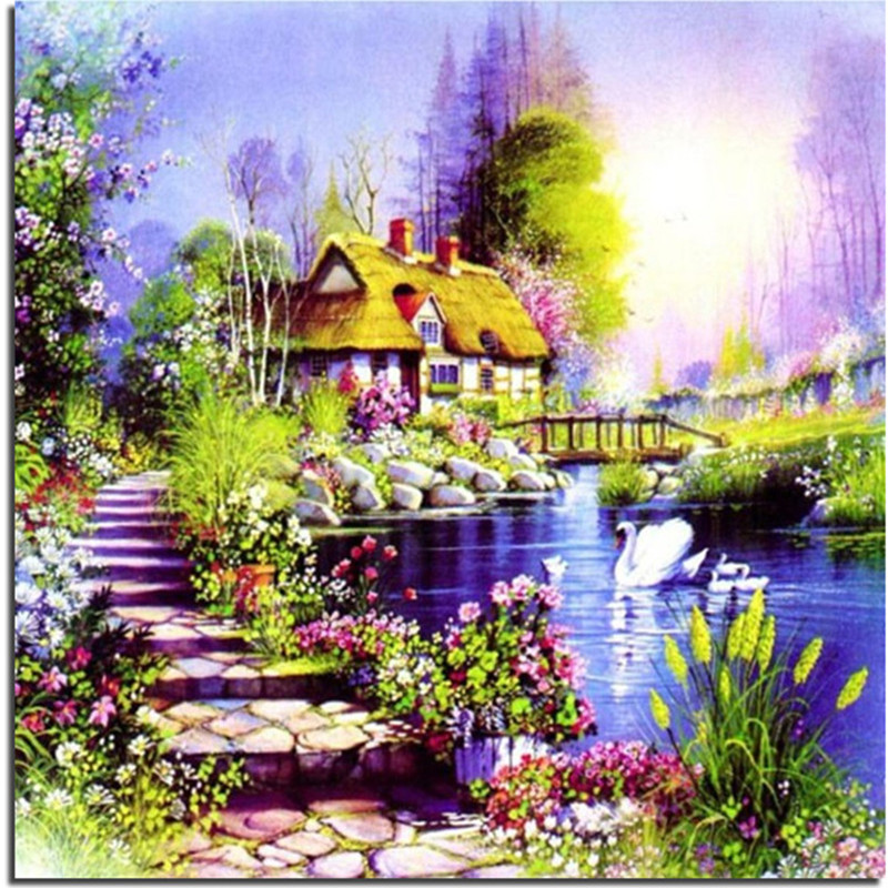 Drawn scenic spring scenery To 3D embroidery Needlework Decor