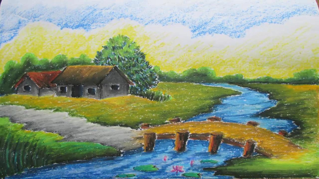 Drawn scenery beautiful village scenery With Draw How Village How