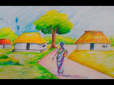 Drawn scenery beautiful village scenery  to draw to kids//Easy