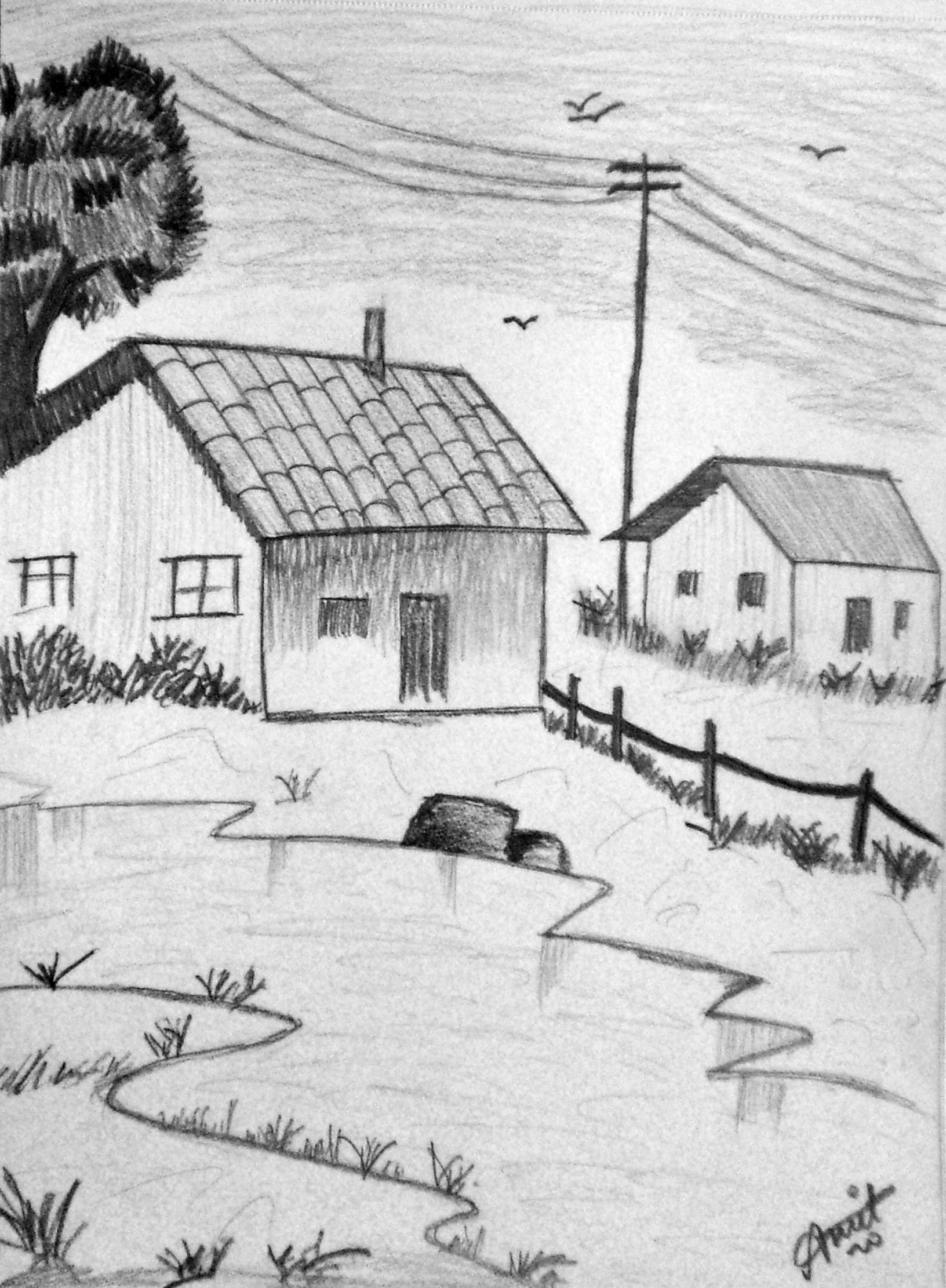 Drawn scenery easy Sketching Description by contemporary sale