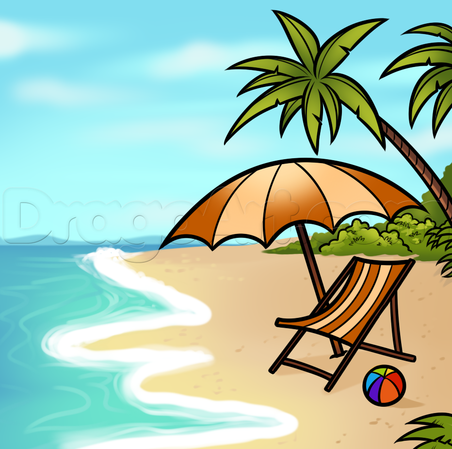 Drawn scenery beach A to a scene to