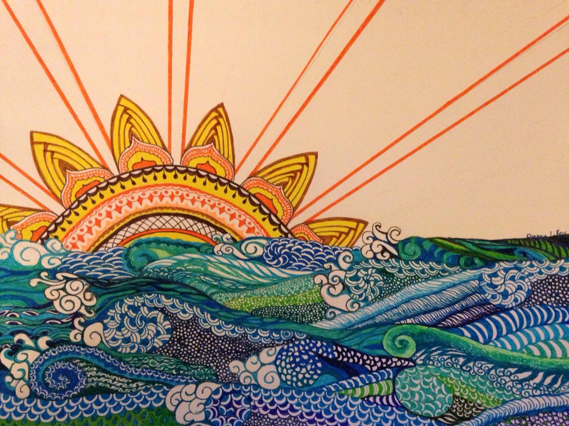 Drawn sunrise easy On Best LeRoy drawing Ocean