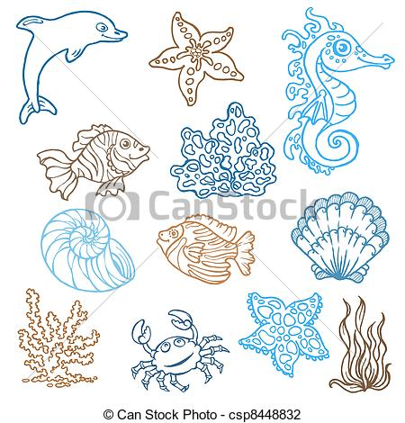 Drawn ocean ocean life Vector life collection doodles of