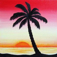 Drawn palm tree lanscape #8