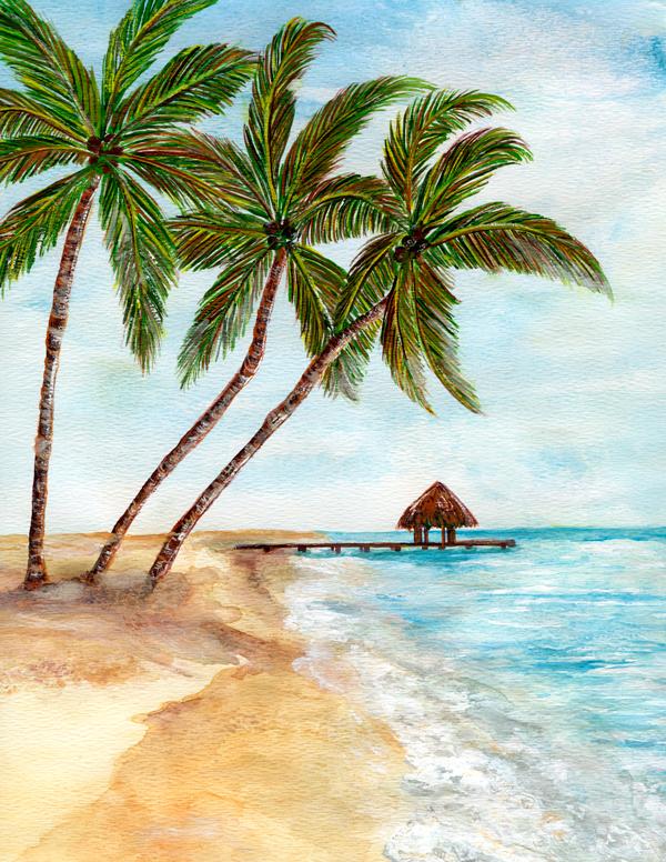 Drawn palm tree beach scene #2