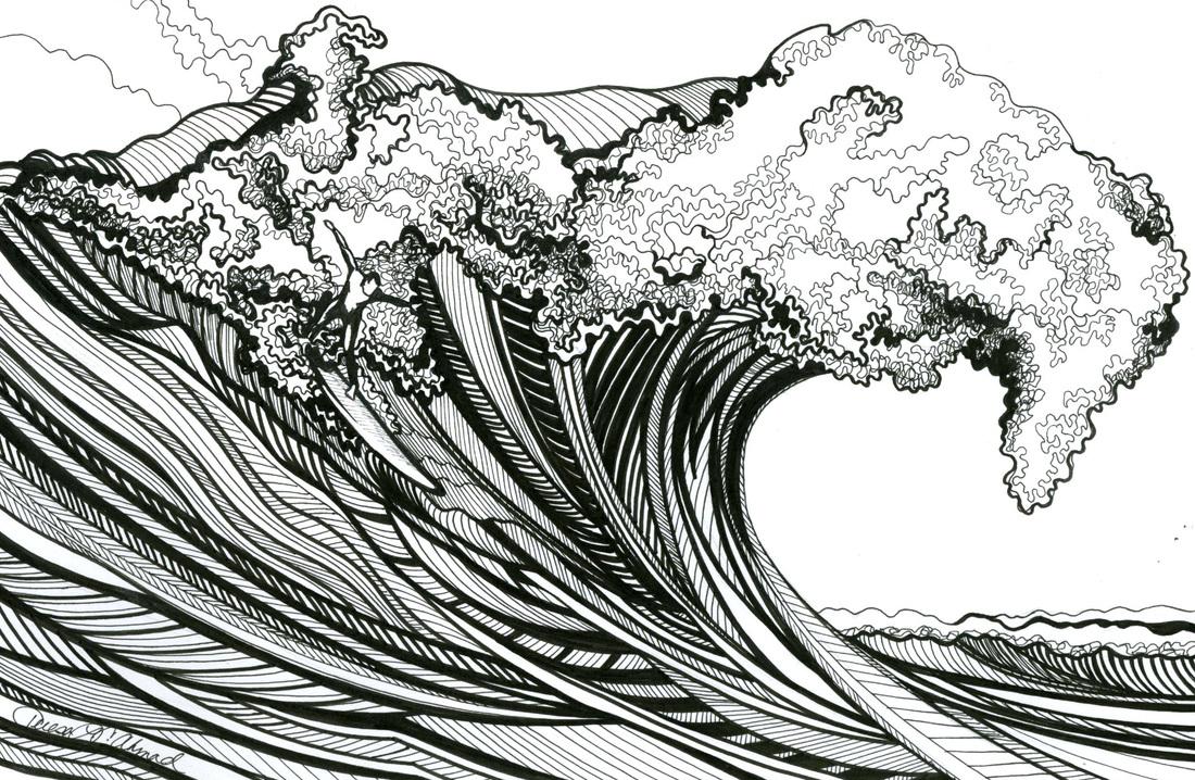 Drawn ocean