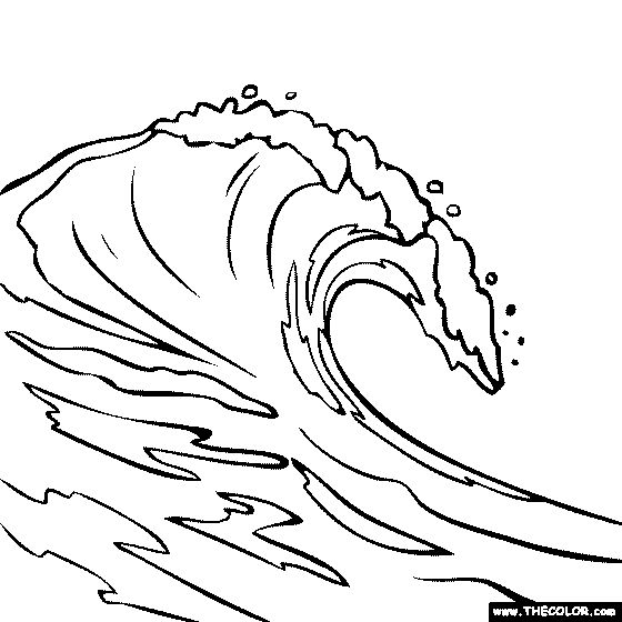 Drawn ocean simple Coloring Pin The this Wave