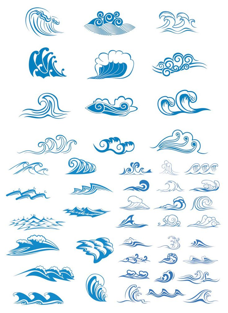 Drawn ocean simple Graphics waves Sea symbols vector
