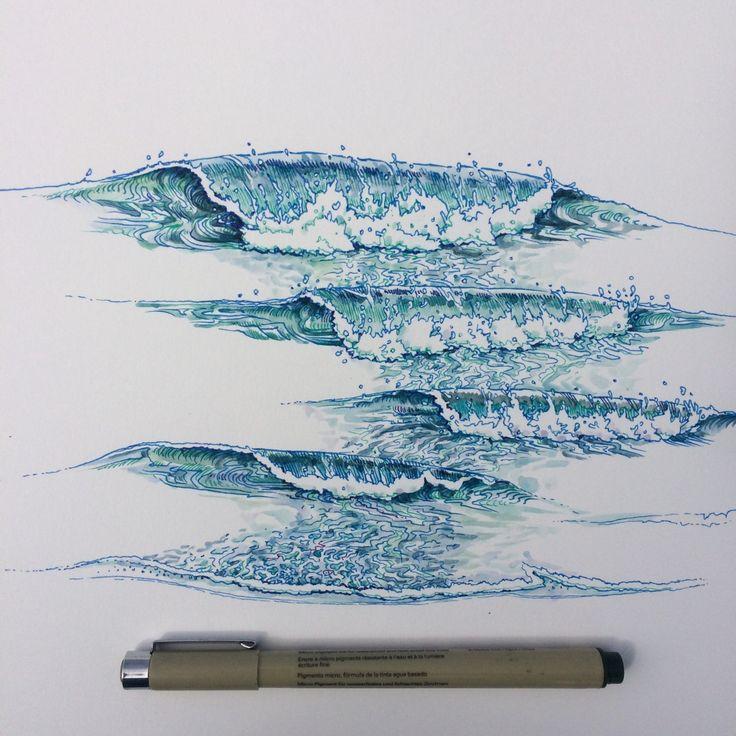 Drawn sea ocean wave The ideas ∞Noel best 25+