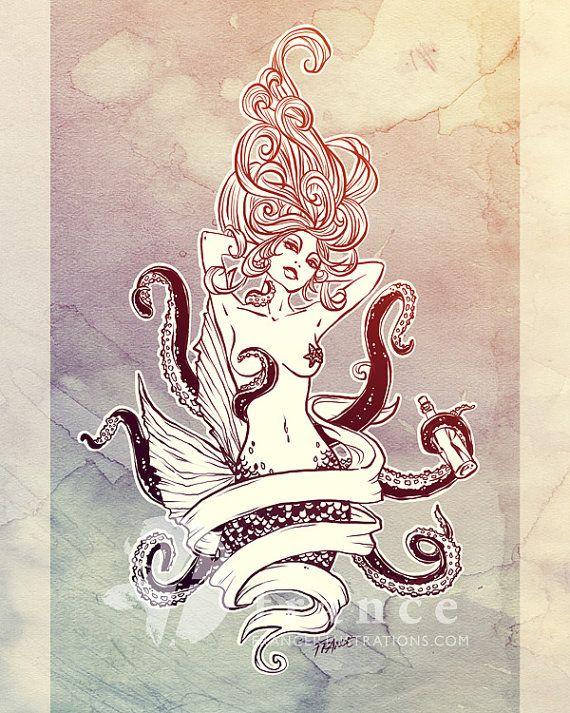 Drawn octopus mermaid Tattoo Tattoo Mermaid or Swim