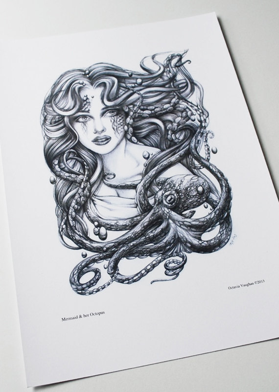 Drawn octopus mermaid OctaviaTattoo Giclée Archival and Her