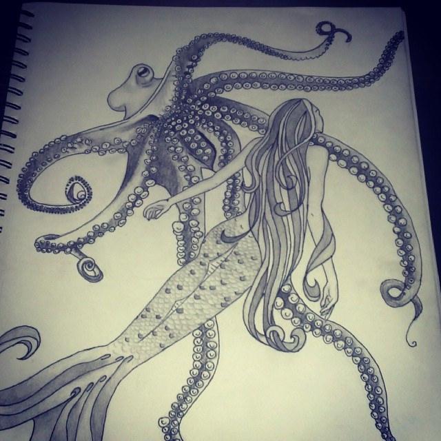 Drawn octopus mermaid Progression #mermaid #pencil #drawing #pencil