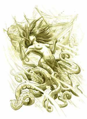 Drawn octopus mermaid Best depths! octopus beast Octopus