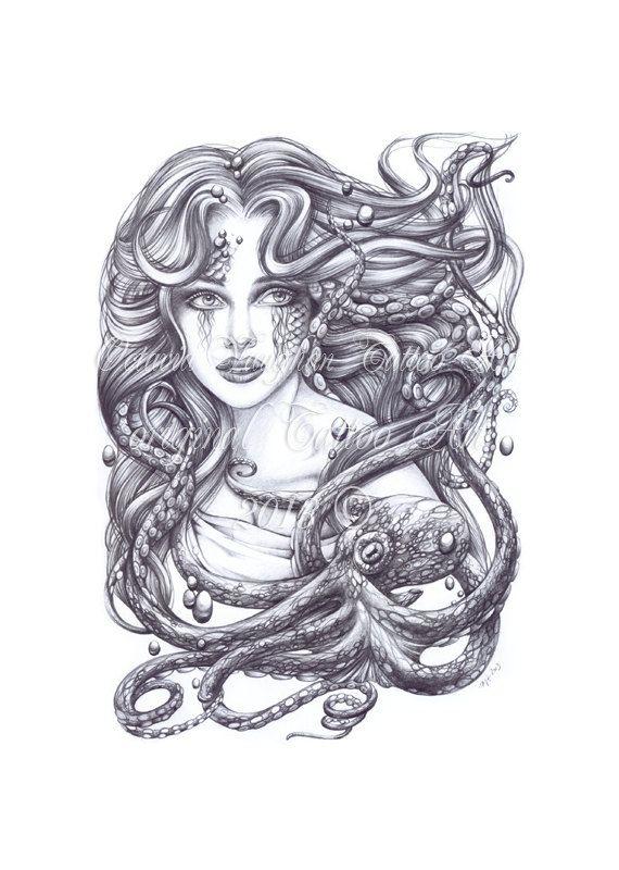 Drawn octopus mermaid Print Octopus Art Mermaid Print