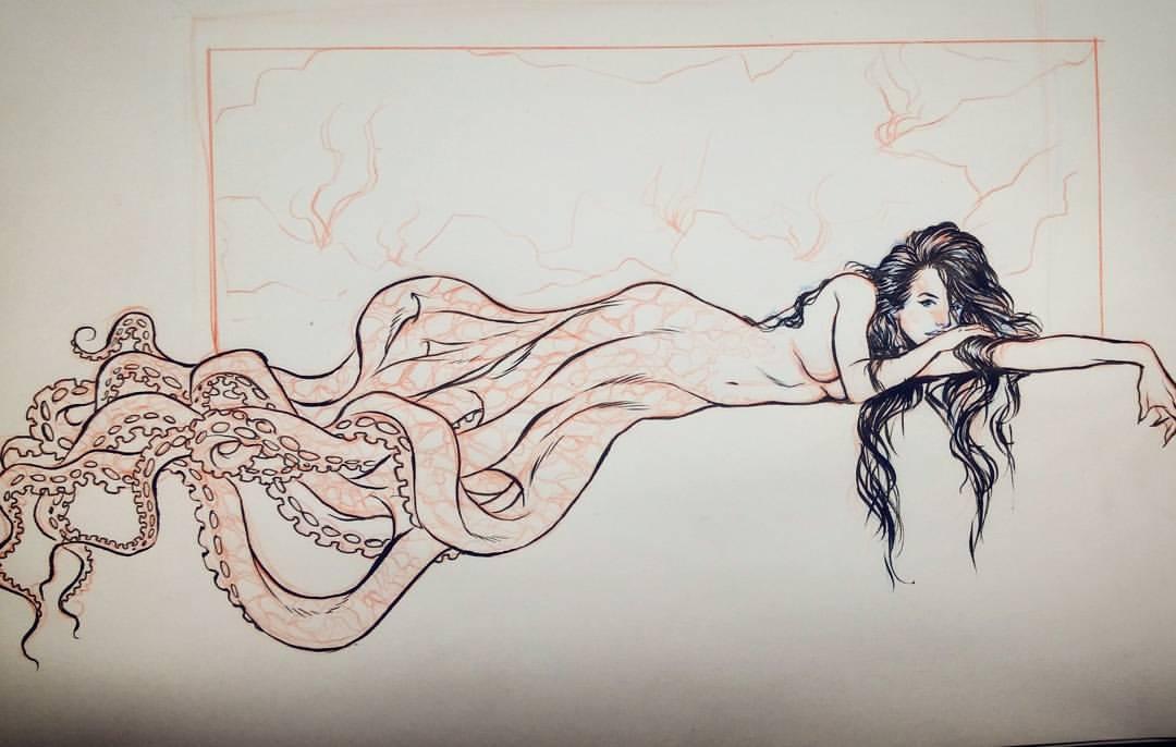 Drawn octopus mermaid Lucas by by Lucas Art