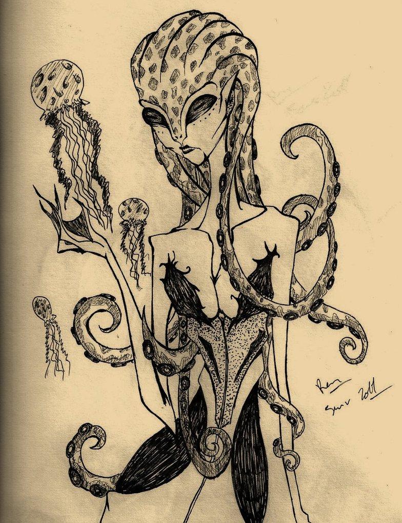 Drawn octopus mermaid Monster a mermaid by mermaid