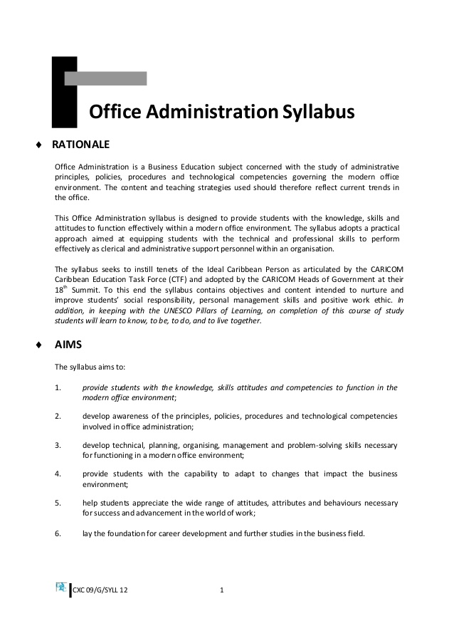 Drawn office admin office 12 Office office syllabus 09/G/SYLL