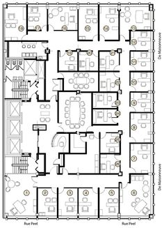 Drawn office administration office Plan floor suite Sample Plans