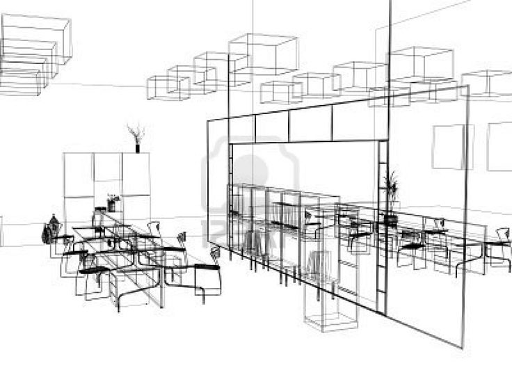 Drawn office architectural 3d modern 3d and office