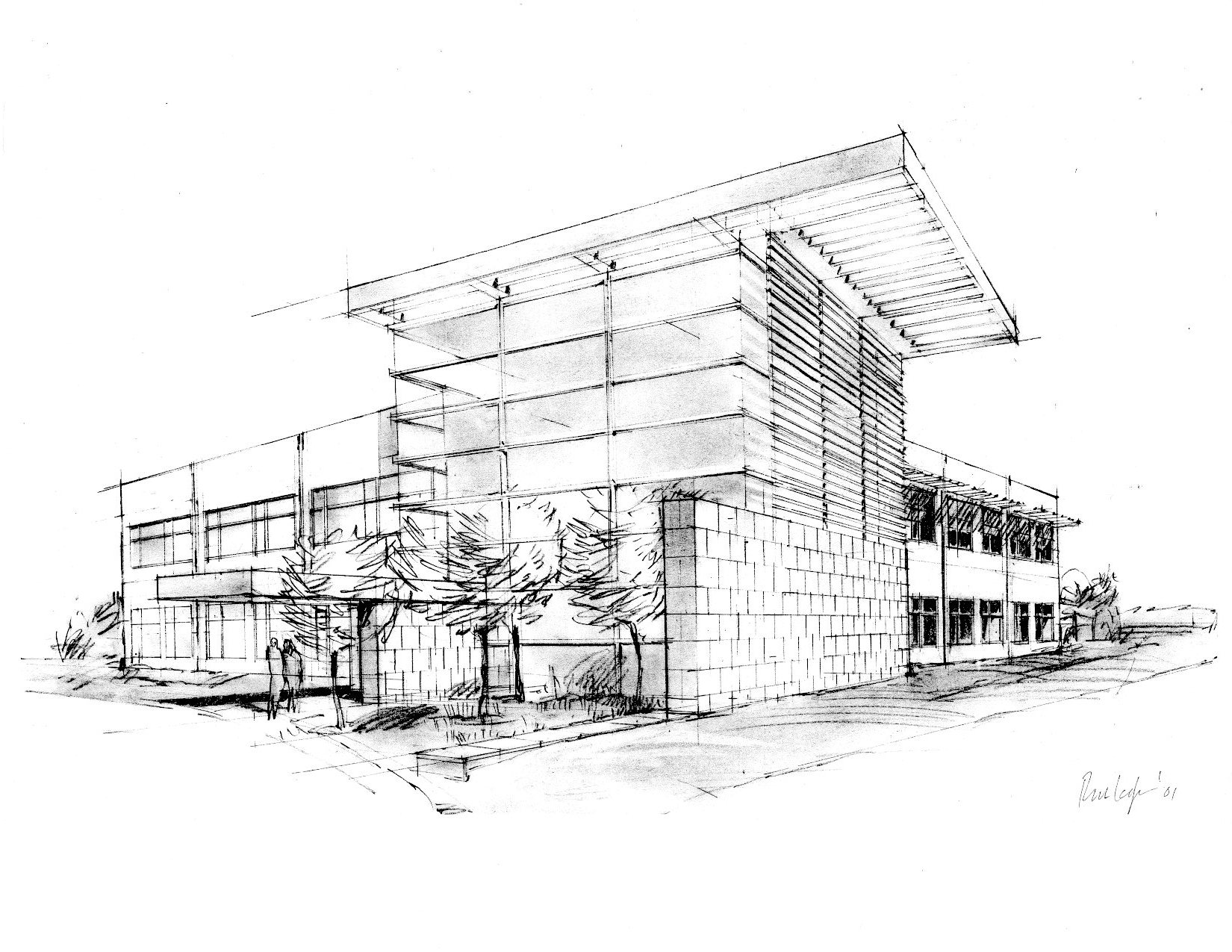 Drawn office architectural Sketch Entry  Sinacola Portfolio