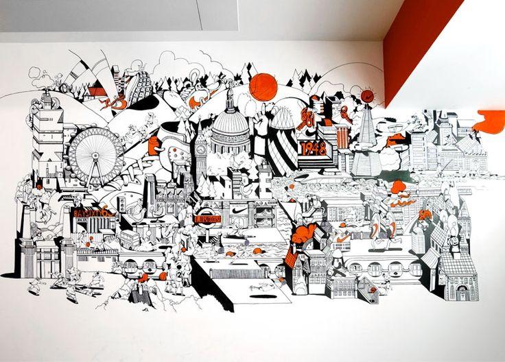 Drawn office art 33_Nike_UK_Headquarters_Refresh_London_Illustration_Mural_3x3_Expanded Pinterest Office Best 780x560